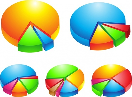 pie charts templates colorful 3d design