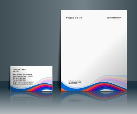 corporate identity templates modern colorful waving lines decor