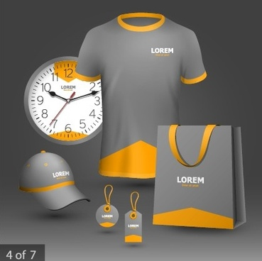 business t shirt hat and tag with clock vector