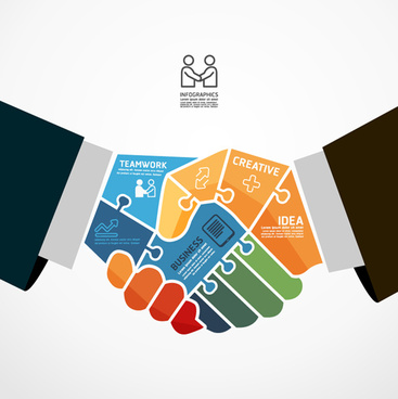 business teamwork creative infographics vector