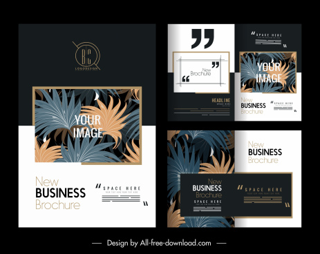 business templates elegant contrast design leaves decor