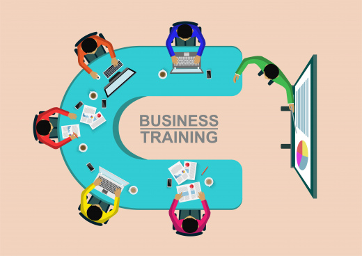 business training concept corporate staff training business meeting and planning decisions show top view illustration cartoon vector