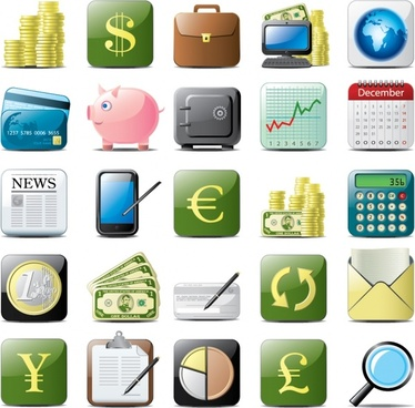 finance icons modern colored flat symbols sketch