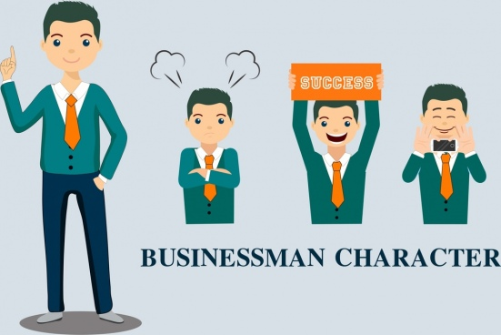businessman character icons emotional design colored cartoon