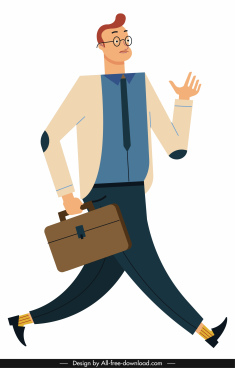 businessman icon walking gesture colored cartoon character