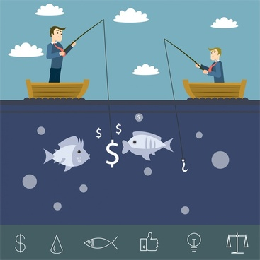 businessman marketing illustration with businessmen competing in fishing