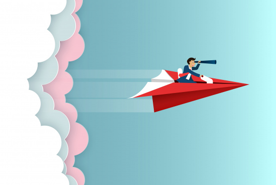 businessman sit on paper plane hold binoculars forward fly on sky go to success goal business finance concept creative idea startup illustration cartoon vector
