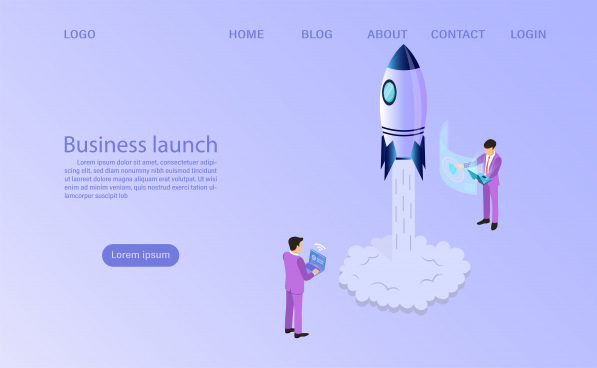 businessman start to launch a space rocket business start up concept flat 3d isometric