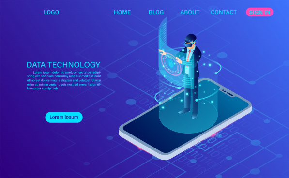 businessman wearing goggle vr standing on mobile with touching interface into virtual reality world future technology flat isometric web header template flat isometric vector illustration