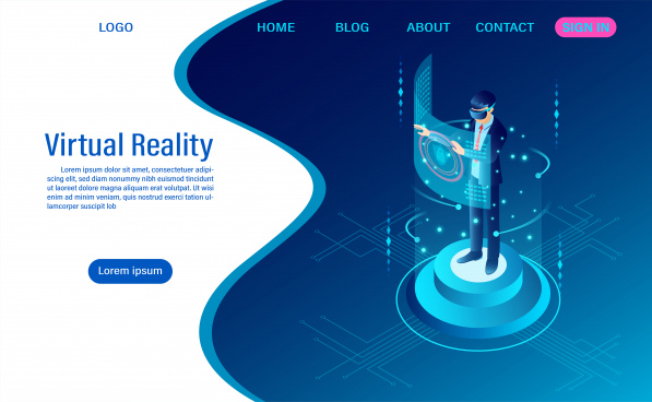 businessman wearing goggle vr with touching interface into virtual reality world future technology flat isometric web header template flat isometric vector illustration