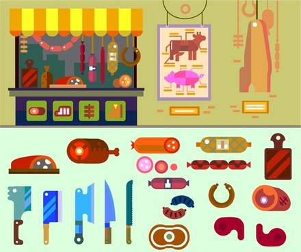 butcher shop concept with various food illustration