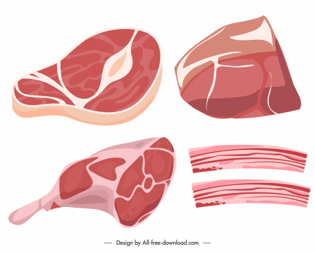 butcher shop design elements colored flat 3d sketch