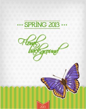 butterflies and spring background vector