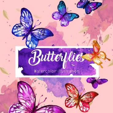 butterflies background colorful grunge watercolor decoration