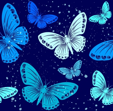 butterflies background dark blue decoration