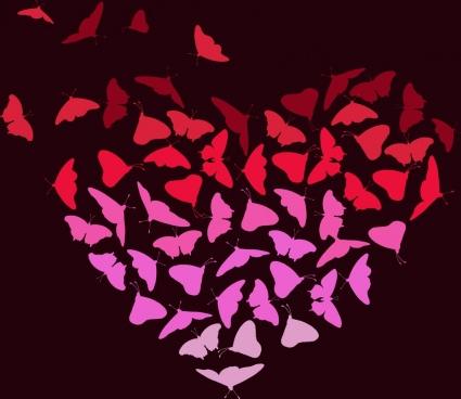 butterflies background heart shape design dark color