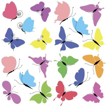 butterflies colored vector set