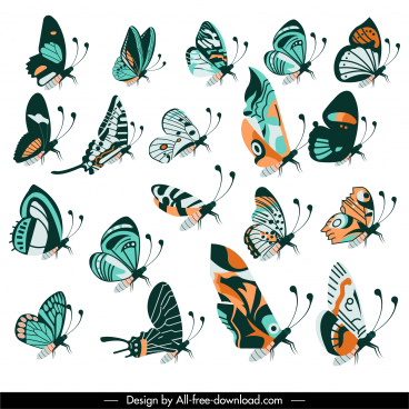 butterflies creatures icons collection colorful classical flat design