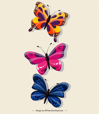 butterflies decor elements shiny colorful flat sketch