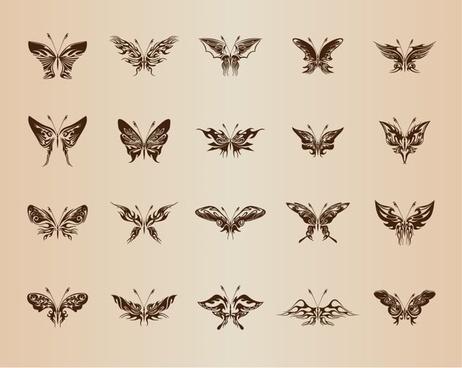 butterflies for design vector set