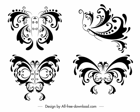 butterflies icons classic symmetric curves decor