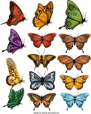 butterflies icons collection colorful shapes sketch modern design