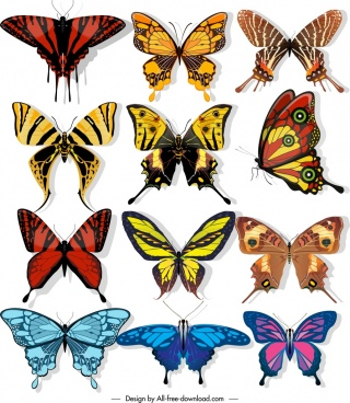 butterflies icons collection dark colorful shapes