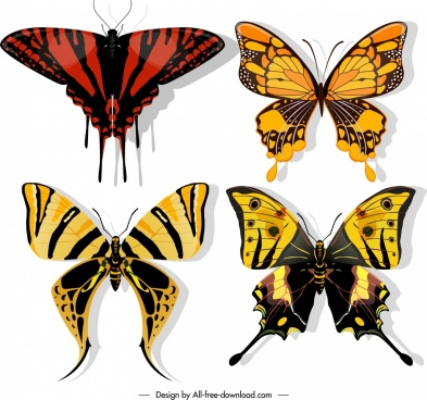 butterflies icons dark colorful flat sketch
