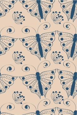 butterflies pattern background blue repeating design
