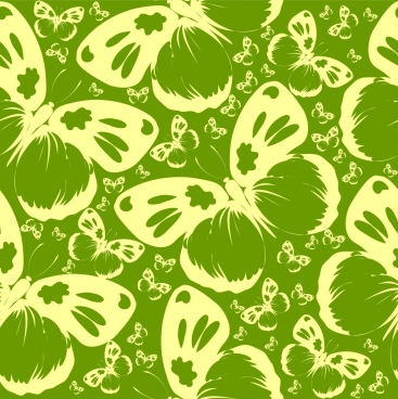butterflies pattern background green decoration repeating style sketch