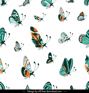 butterflies pattern template colorful classic decor