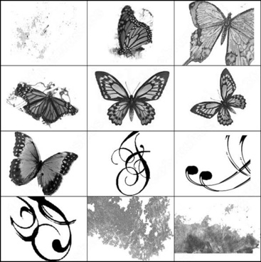 butterflies, swirls and dirty brush