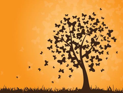 butterflies tree vector graphic