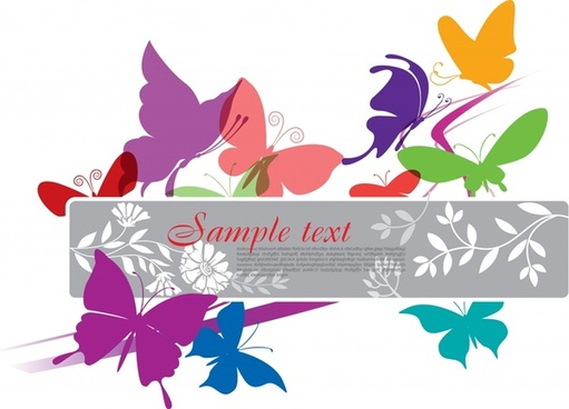 nature background template colorful flat butterflies decor