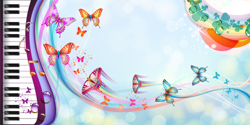butterflies with music vector background