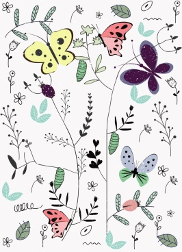 butterfly background colorful flat handdrawn design