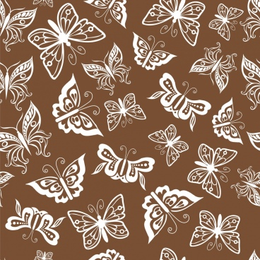 butterfly background repeating flat white icons