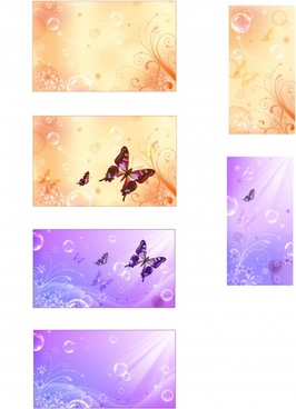 nature background sets butterflies bubbles flowers icons decor