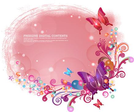 butterfly decorative pattern background vector