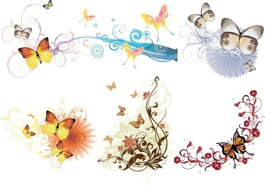 decorative design elements butterflies curves decor multicolored design