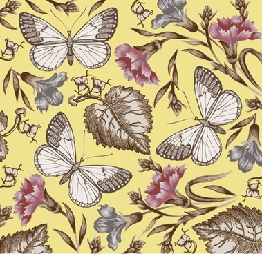 butterfly flower pattern vector