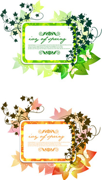 butterfly flower vine decorative frame vector