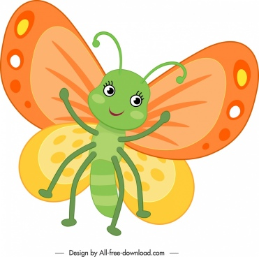 butterfly icon cute stylized cartoon character sketch