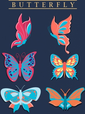 butterfly icons collection colorful flat design