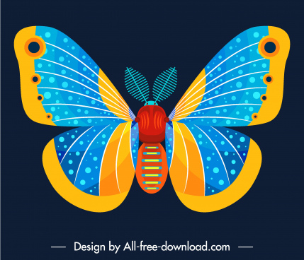 butterfly insect icon colorful decor symmetric flat design