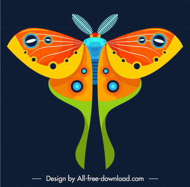 butterfly insect icon colorful flat symmetric decor