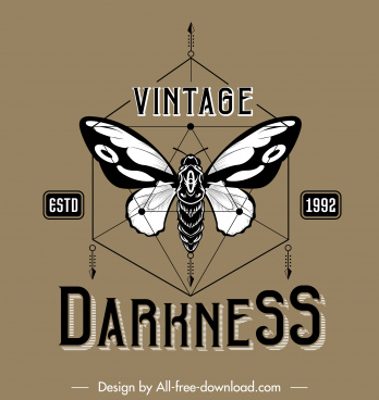 butterfly logo template black white vintage symmetric decor