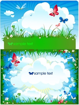 butterfly meadow cloud vector