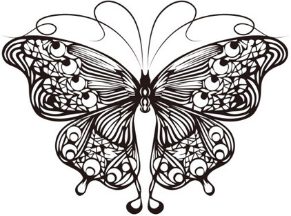Butterfly outline cartoon. Free vector download