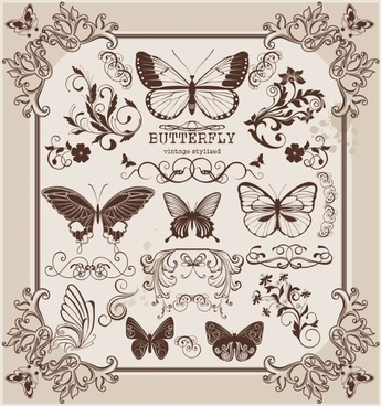 butterfly pattern 2 vector